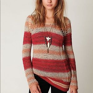 Free People Striped Taped Yarn Pullover